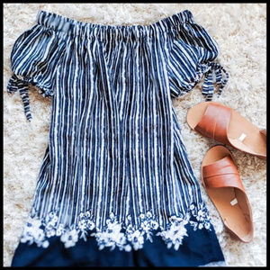 EUC Off Shoulder Striped Dress